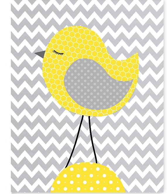 Bird Baby Decor, Gender Neutral Nursery Decor, Baby Girl, Baby Boy, Baby Room Decor, Playroom, Bird Canvas Art, Bird Picture, Chevron
