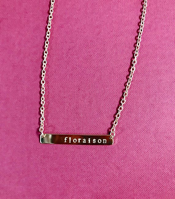 Beautiful French words stamped bar necklace  adjustable chain