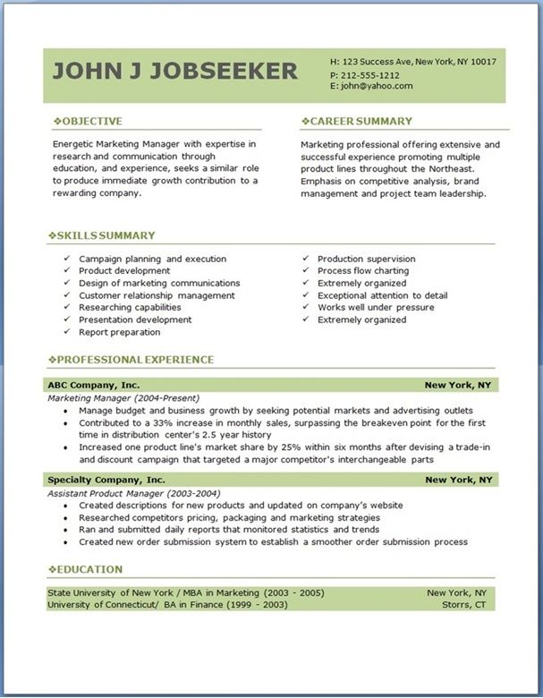 eco executive level resume template - Free Professional Resume Format