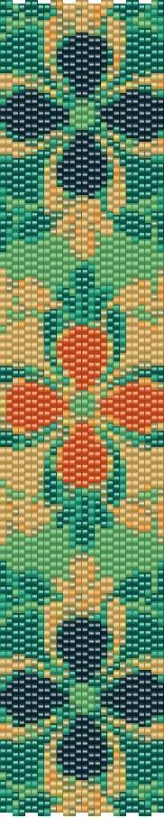Peach Flower 2 Drop Peyote Bracelet Pattern by GoldenValleyCraft