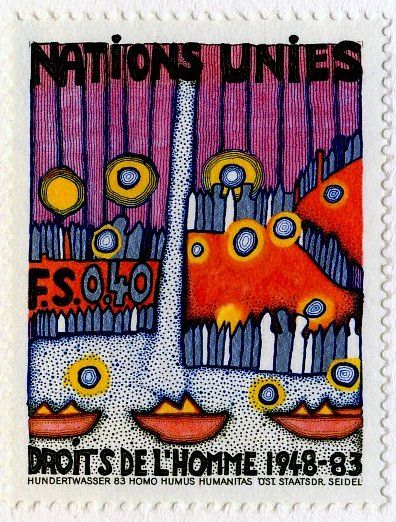 United Nations Human Rights stamp by Hundertwasser