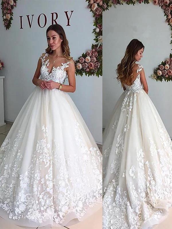 Vintage Ivory Wedding Dresses Backless Lace Applique Princess