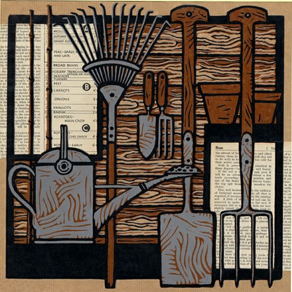 """Potting Shed"" by Jill Kerr (linocut)"