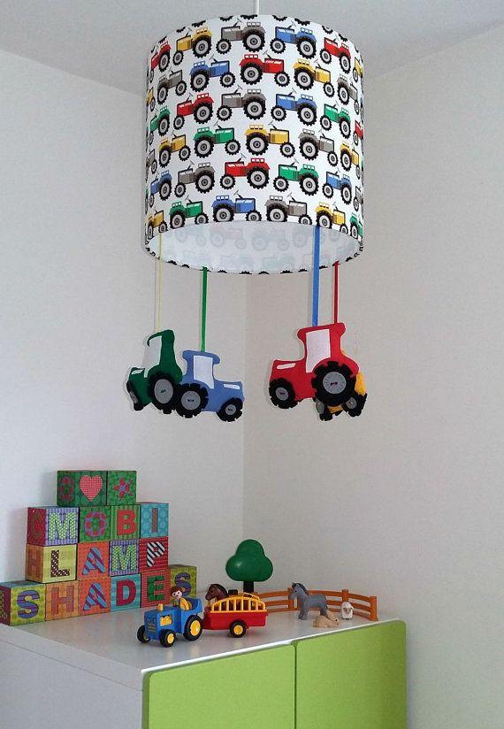 Tractor nursery lampshade - Farmyard theme room - Primary colour nursery - Bright and colourful playroom decor