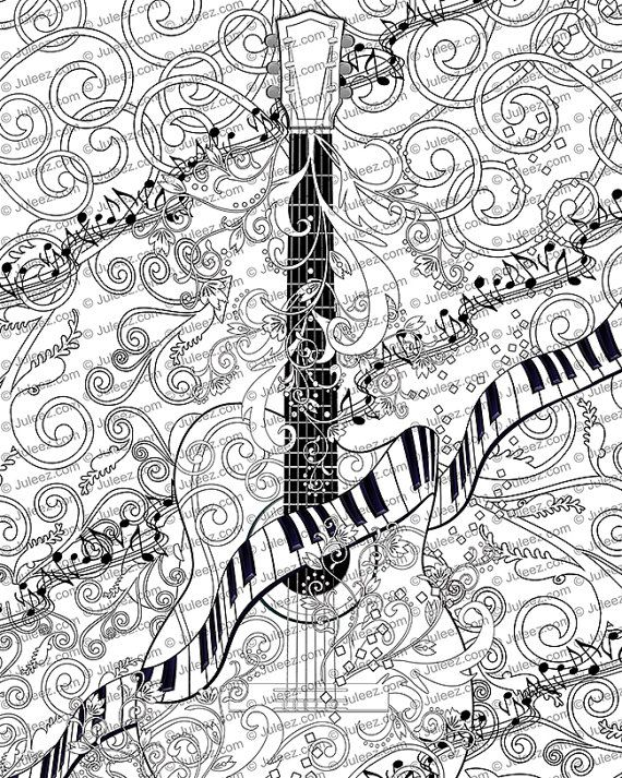 Adult Coloring Page, Printable Adult Guitar Coloring Poster, Instant Download Coloring Poster