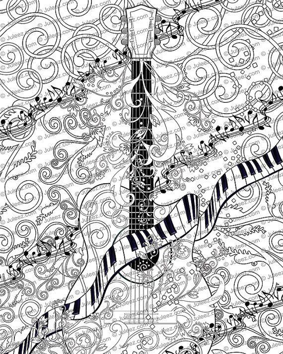 Volwassen Kleurplaat afdrukbare volwassen gitaar door JuleezGallery