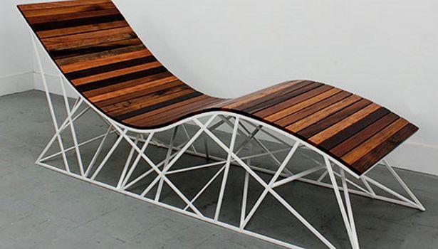 Cyclone Lounger by Uhuru Design: Roller coaster chair made from Brazilian walnut ipe planks reclaimed from the Coney Island boardwalk. #Chair #Ipe #Uhuru_Design