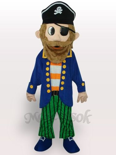 Colorful Pirate Short Plush Adult Mascot Costume