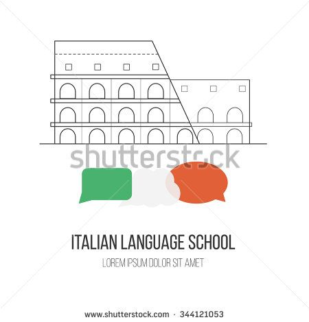 """#Logo for #Italian #language #school with """"#Colosseum"""" in #Rome and speech bubbles in Italian flag color. Made in #vector. Easy to edit. #line #flat #shutterstock"""