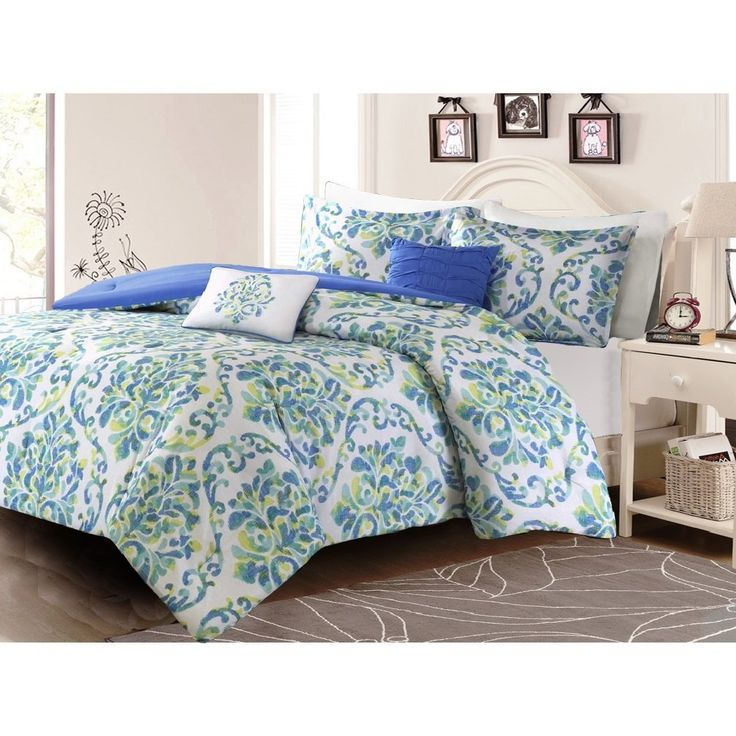 Modern Teen Bedding Comforter Sets for Girls Blue Green Yellow Damask Print with Beautifully Embroidered Accent Pillows Includes a Bonus Sleep Mask From Designer Home (Full/Queen) //Price: $53.40 & FREE Shipping //     #hashtag4