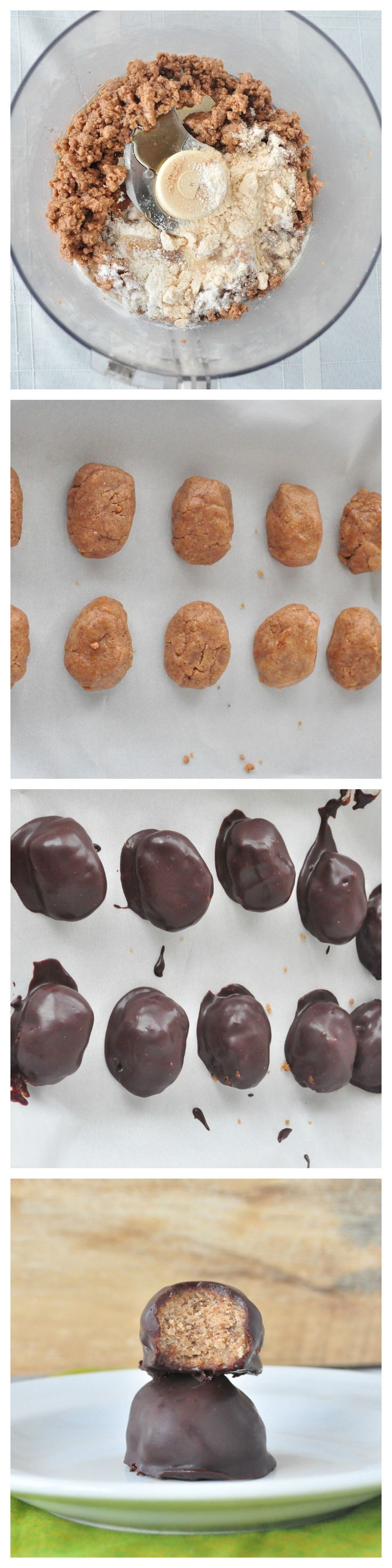 """Copycat Reese's """"Peanut Butter"""" Eggs. All you need is 5 ingredients to make a healthier, homemade version of the Reese's egg. #vegan #glutenfree #paleo #chocolate #desserts"""