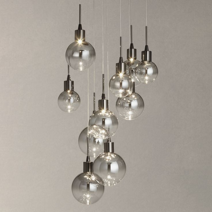 BuyJohn Lewis Dano LED Ombre Glass Ceiling Light, 10 Light, Black/Chrome Online at johnlewis.com