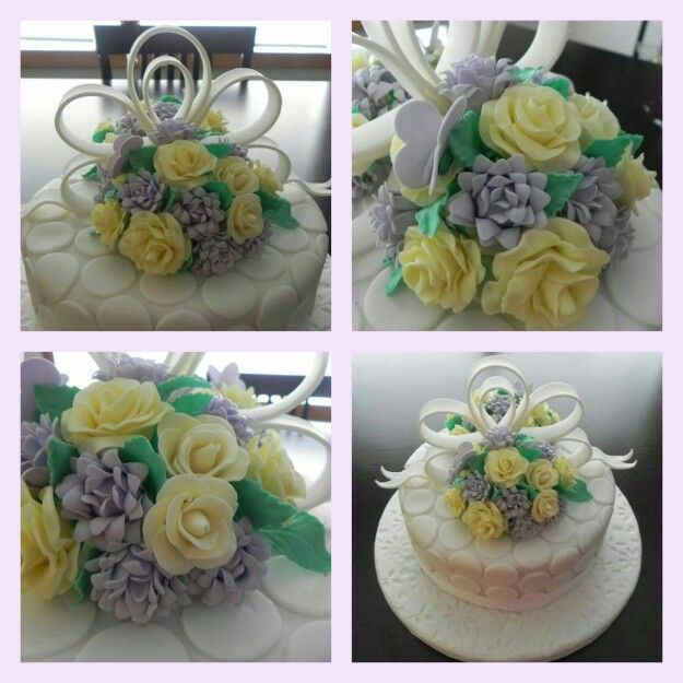 Bouquet of flowers cake decor