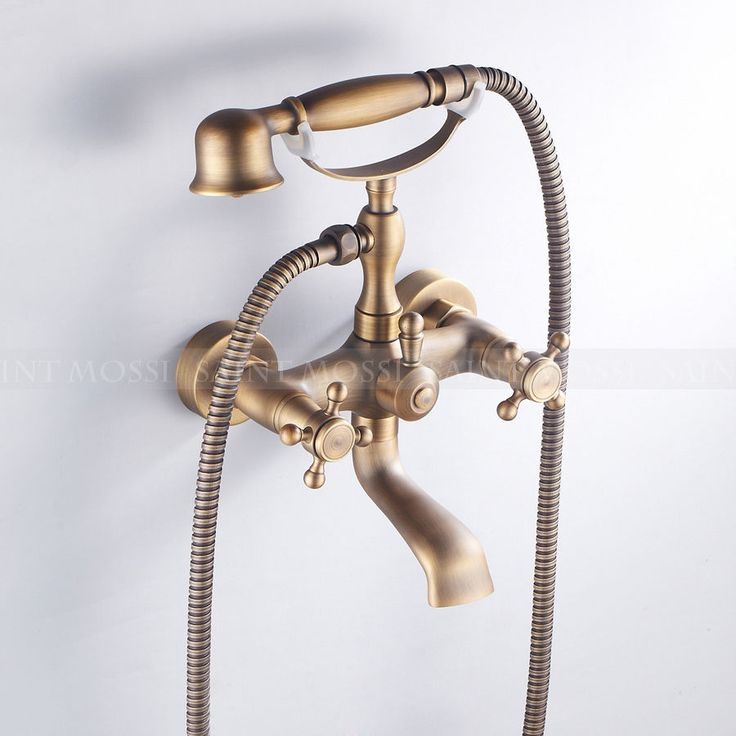 Antique Brass Classic Victorian Bathtub Wall Mount Mixer Tap Faucet Hand Shower