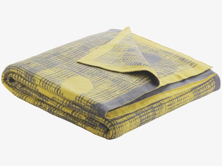 CHAPMAN GREYS Cotton blend Yellow and grey reversible throw - HabitatUK