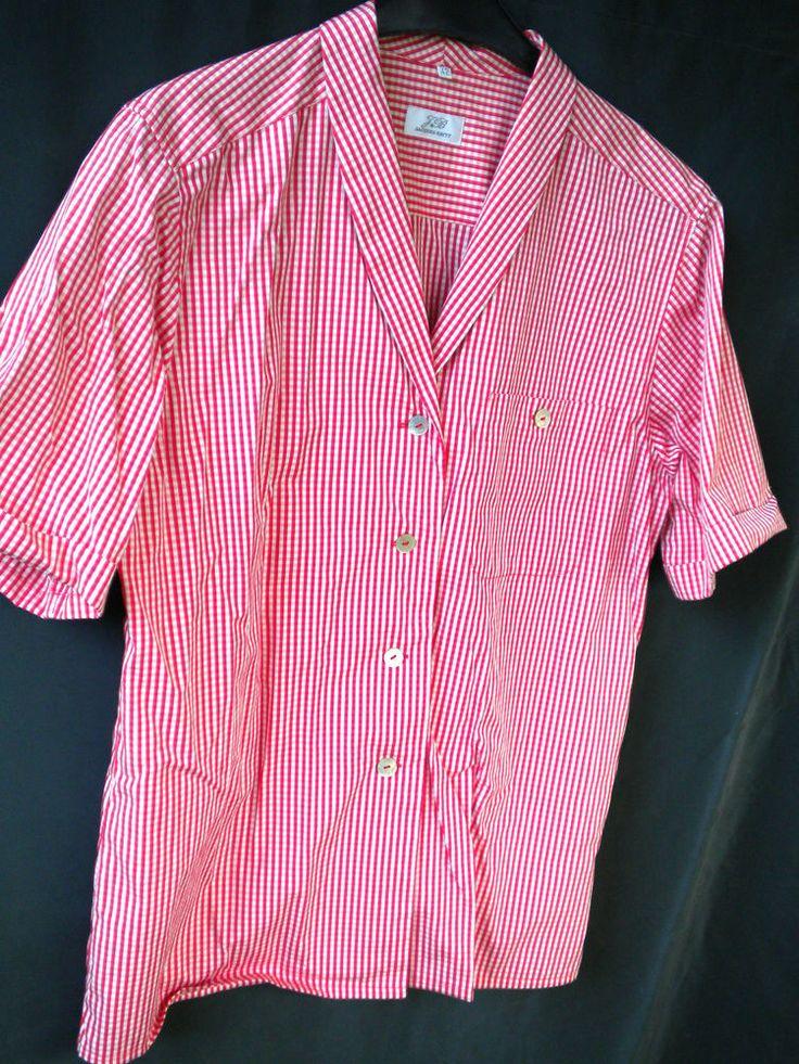 Vintage,Bluse,Kurzarm,kariert,rot-weiß.gr,genaue Massangabe, 42-XL