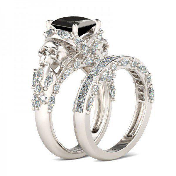 Princess Cut Black Diamond With Marquise Cut Sidestone Rhodium Plated Sterling Silver Women's Skull Ring