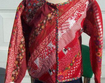 Women's size large quilted sweatshirt jacket by lavendersugarplum