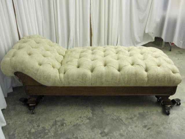 Antique 1800s Chaise Lounger Extra Nice w Fresh Button Tuft Upholstery in Ivory : how to reupholster a chaise - Sectionals, Sofas & Couches