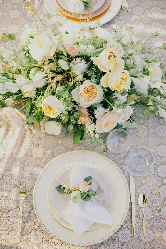 Gold + Green table setting - North Dakota shoot by Cassie Pope