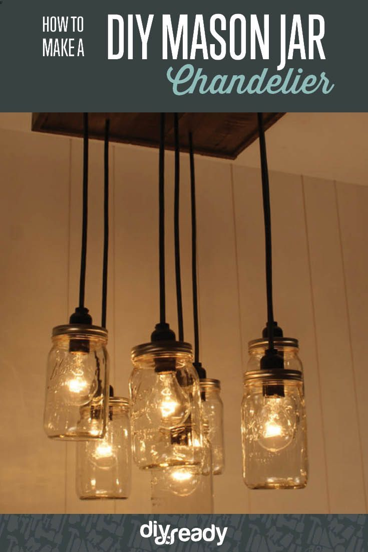 Learn to Make a DIY Mason Jar Chandelier | DIY Lighting could also do this with recycled wood pallet