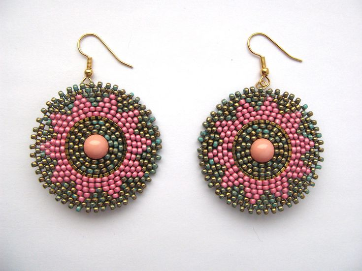 Pink and turquoise beaded earrings.