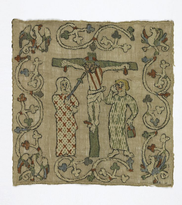 Fragment from an altar frontal in coarse cream-colored linen embroidered in silk in red, light green, light blue, and white. In the center field, the Crucifixion: Christ on the cross with bowed head, with blood dripping from the hands and three red cuts across the body. A figure appears on each side, possibly St. John the Baptist on the right and Mary with a sword at her breast on the left; both figures wear long straight robes with simple geometric patterns. Christ's face appears to be…