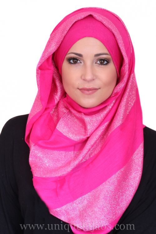Long Hijab Striped Shimmer-Hot Pink