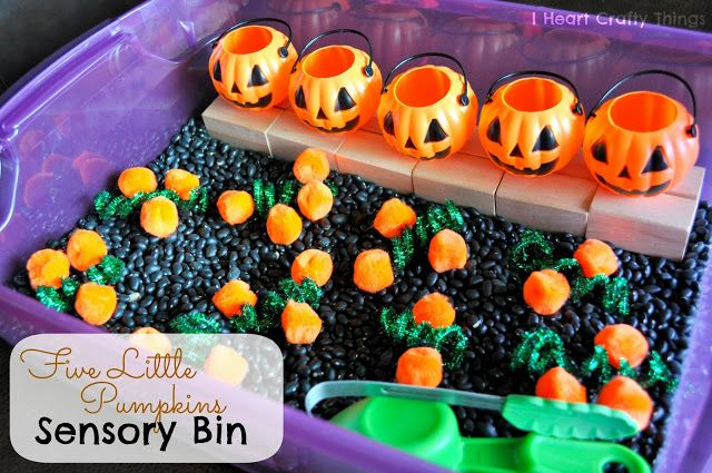 Change up sensory bins to go with seasons.  With Halloween coming up, this would be a fun bin to try out!
