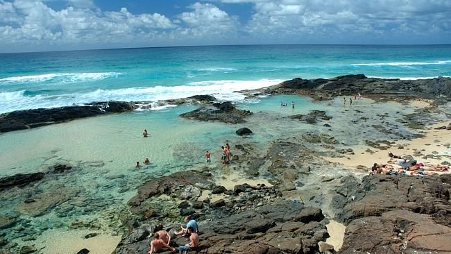 Champagne Rock pools, Fraser Island, Queensland, Australia. Fraser Island is a World Heritage-listed site.