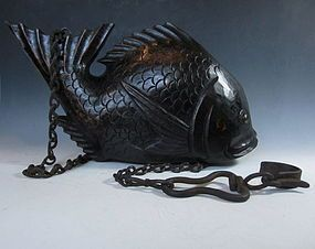 "Antique Japanese Wooden Fish Jizai 19th century Size: 8.5"" tall, 15.25"" long, 3.5"" wide Zentner Collection, $2000"