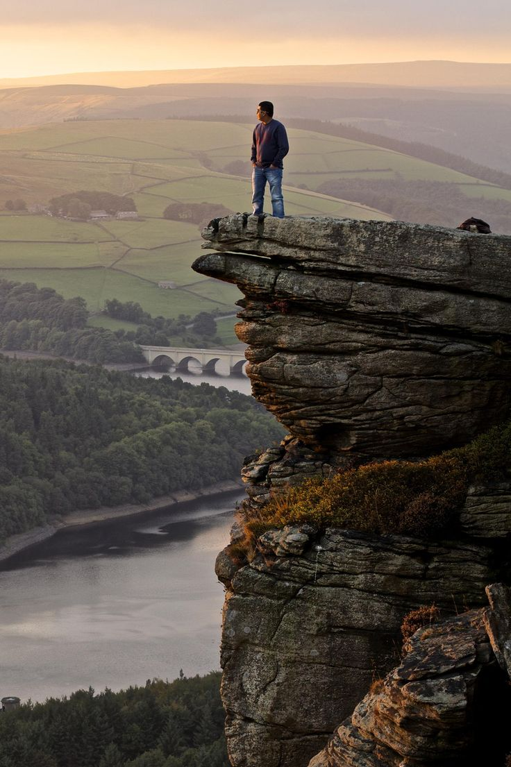 Bamford edge at sunset, Peak District, England ugh vertigo!