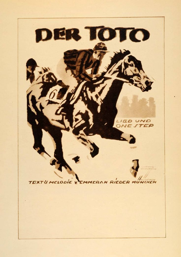 1926 Photogravure Hohlwein Der Toto One Step Music Horse Race Jockey P - Period Paper