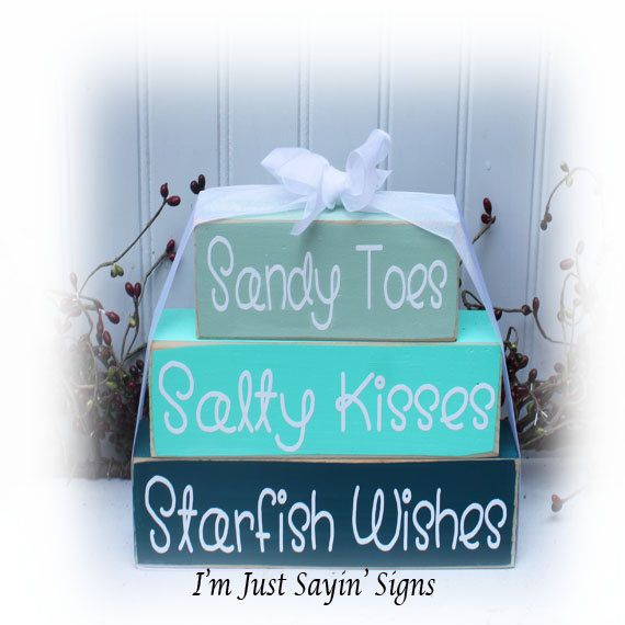 Sandy Toes Salty Kisses Starfish Wishes Wood by ImJustSayinSigns, $17.95