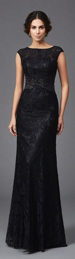 Another black lace long dress for mother of the bride formal occasions. Choose from black or other 30 colors