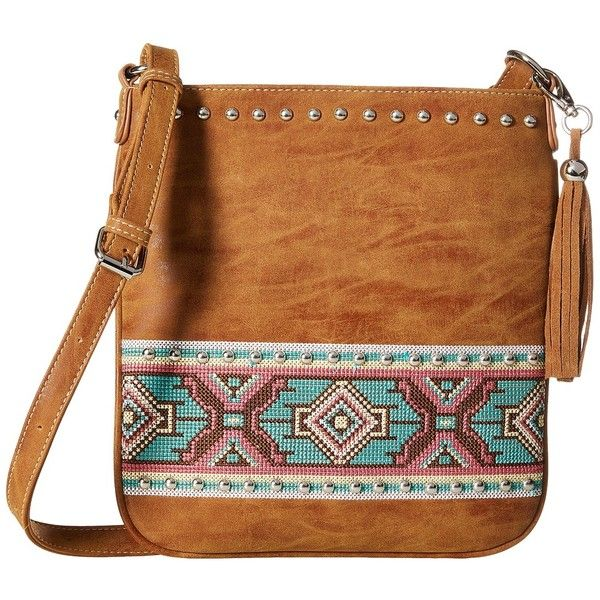M&F Western Shania Messenger Bag (Tan) Messenger Bags (€44) ❤ liked on Polyvore featuring bags, messenger bags, flat bags, studded bag, aztec bag and courier bags