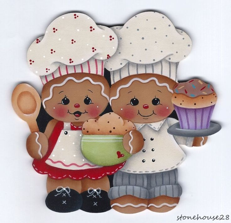 HP GINGERBREAD Chefs FRIDGE MAGNET #Handpainted
