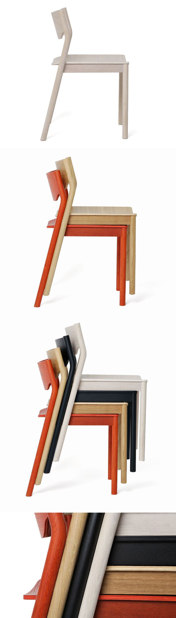 Tangerine Stackable Chairs by Simon James