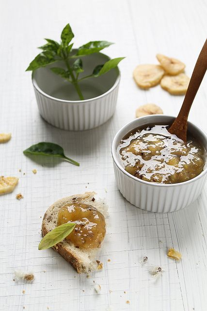banana basil jam? curious. i'm pinning this because i buy a lot of bananas, and if some of them get too soft, i'd like to do something else other than freeze them. i do love herbs in desserts!  of course, i'm going to have to scale this recipe down from 4 pounds of bananas to 1 banana...