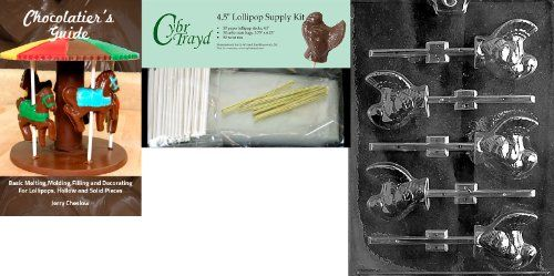 Cybrtrayd 45StK50TT012 Turkey Lolly Thanksgiving Chocolate Mold with Chocolate Packaging Kit Small Includes 50 Cello Bags 50 Gold Twist Ties and Chocolate Molding Instructions -- Check this awesome product by going to the link at the image. (This is an affiliate link) #CandyMakingAccessories