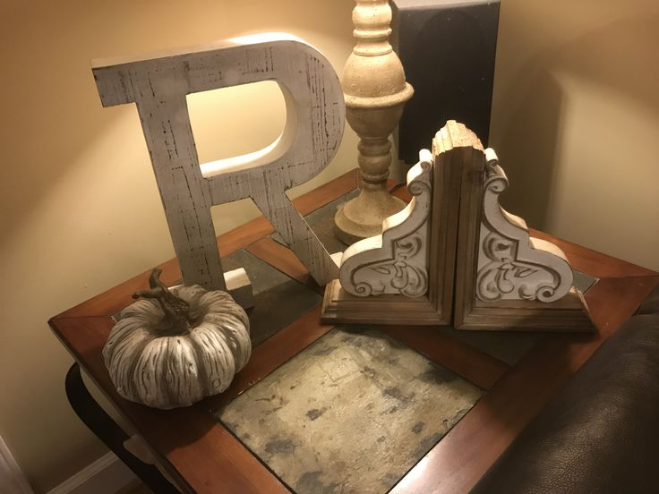 Wood initial pumpkin bookends white – Fallin' for Fall Décor