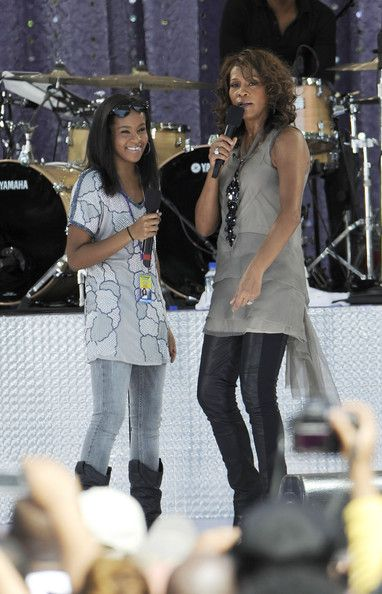 "Bobbi Kristina Brown and Whitney Houston perform on ABC's ""Good Morning America"" on September 1, 2009 in New York City"