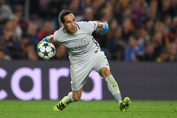 Claudio Bravo of Manchester City in action during the UEFA Champions League group C match between FC Barcelona and Manchester City FC at Camp Nou on October 19, 2016 in Barcelona, Catalonia.