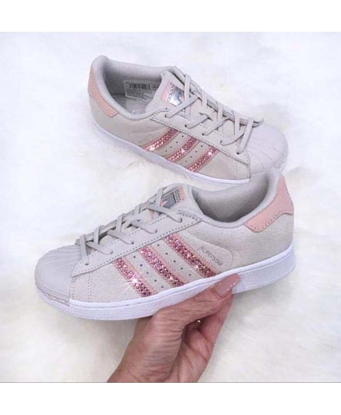 pretty nice 576c3 f16c3 Adidas Superstar Pearl Grey With Pink Crystals | Παπούτσια ...