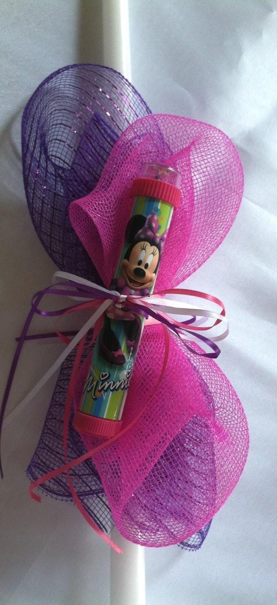 Minnie Mouse Kaleidoscope Easter Candle, $20.00 at Greek Wedding Shop ~ http://www.greekweddingshop.com