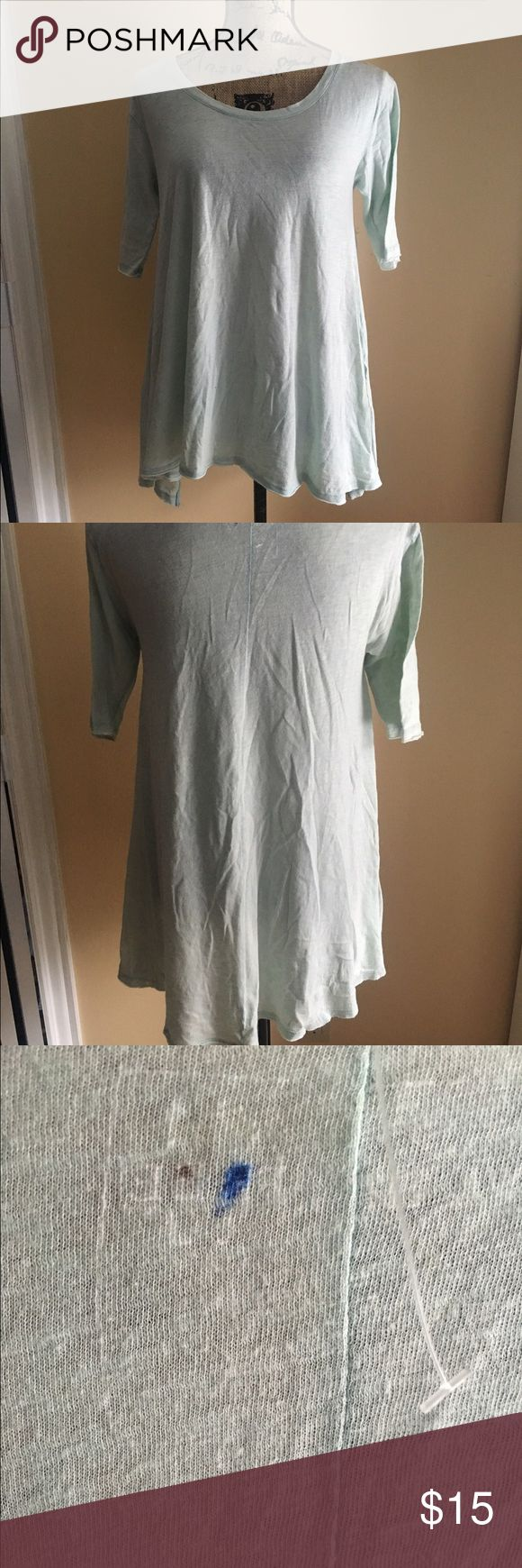Free People Oversized tee shirt Free People Mint Green oversize tee with slits on side. NWOT. Has a blue dot on back Free People Tops Tees - Short Sleeve