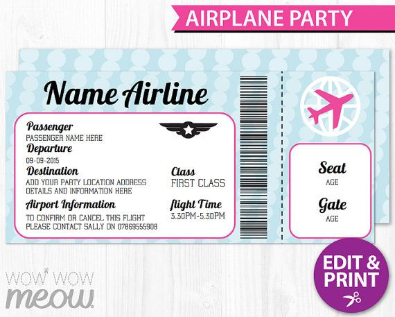 Pink Girls AIRPLANE Ticket Invite Passport by wowwowmeow on Etsy - airplane ticket template