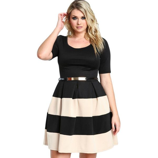 Apricot Stripes Plus Size Skater Mini Dress LAVELIQ ($42) ❤ liked on Polyvore featuring dresses, short sleeve dress, short dresses, skater dress, long-sleeve skater dresses and plus size mini dresses