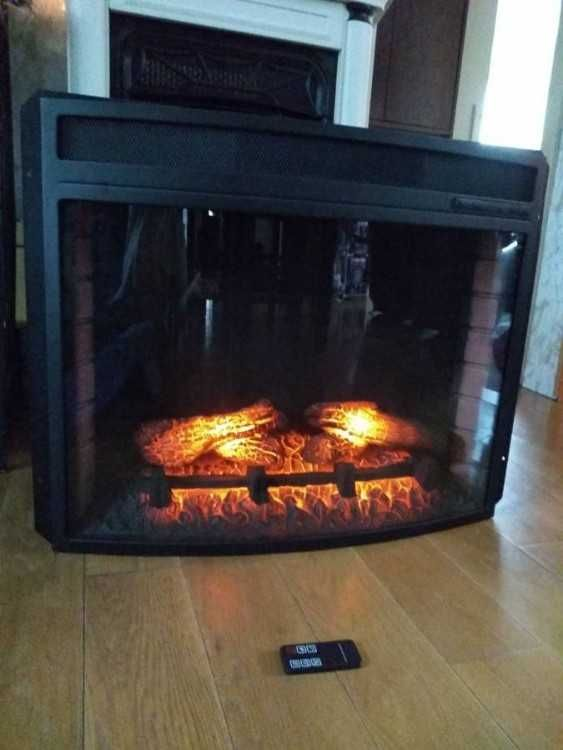 electric fireplace insert with remote 28black metal framing 29 rh pinterest com