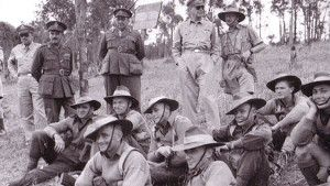 General Douglas watching a training exercise by the Australian 9th division on the Atherton Tablelands in WWII. Also seen is Lieutenant-General Morshead   Atherton   Queensland   Australia